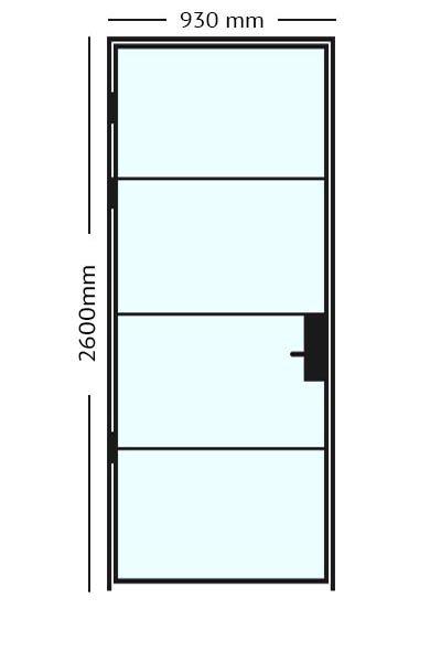 Stalen Scharnierdeur 93x2600