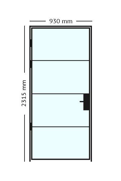 Stalen scharnierdeur van 93 x2315