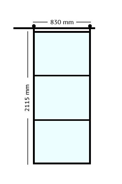 Stalen. binnendeuren schuifdeur 83x211,5