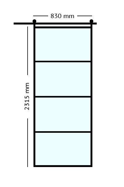 Stalen. binnendeuren schuifdeur 83x231,5