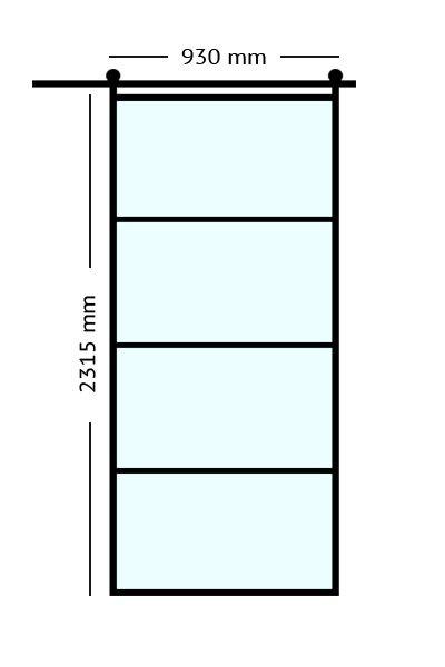 Stalen. binnendeuren schuifdeur 93x231,5