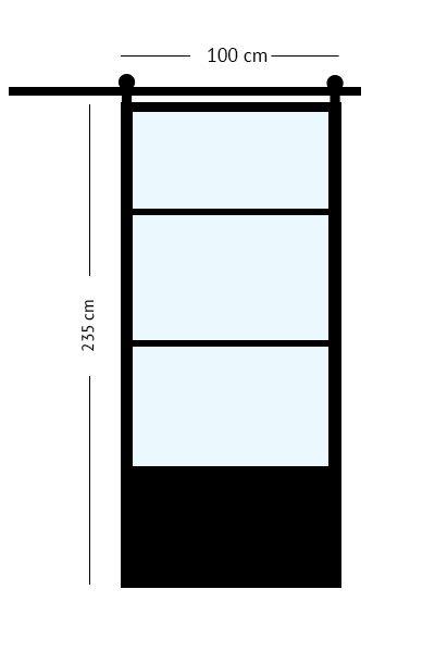 stalen schuifdeur 100 x 235 cm