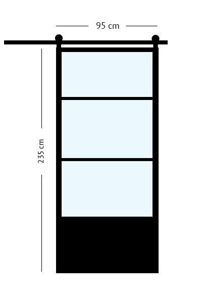 stalen schuifdeur 95 x 231 cm
