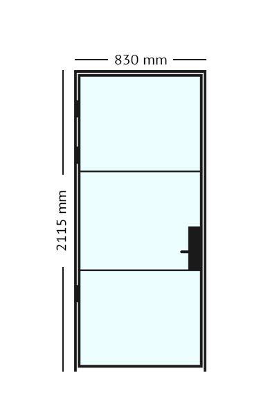 Stalen scharnierdeur van 83 x2115