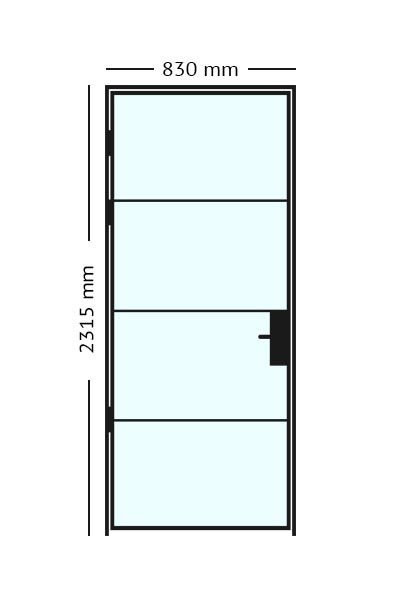 Stalen scharnierdeur van 83 x2315