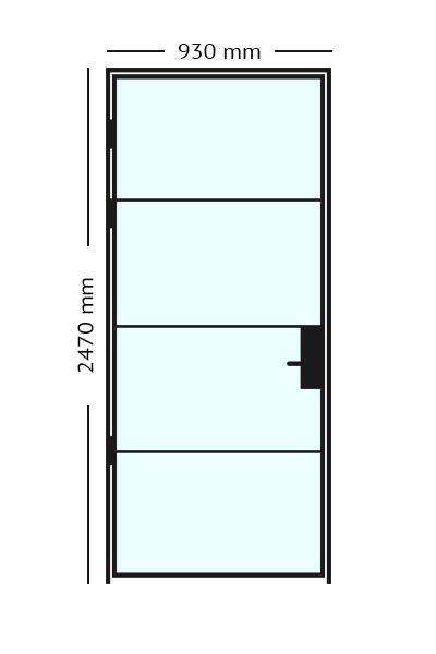 Stalen scharnierdeur van 93 x2470