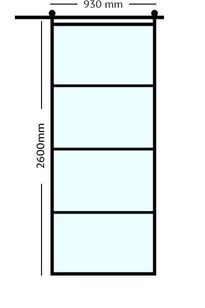Stalen Schuifdeur 93x2600