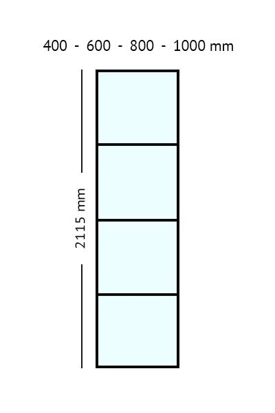 stalen paneel 2115 cm hoog