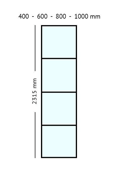 stalen paneel 2315 cm hoog