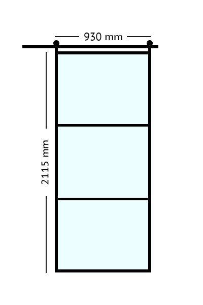 Stalen schuifdeur 211,5 x 93 cm